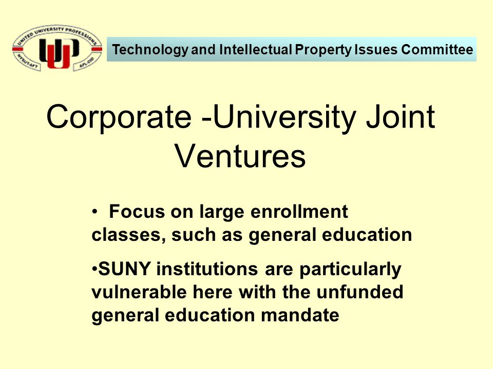 Focus on large enrollment classes, such as general education SUNY institutions are particularly vulnerable here with the unfunded general education mandate Corporate -University Joint Ventures Technology and Intellectual Property Issues Committee