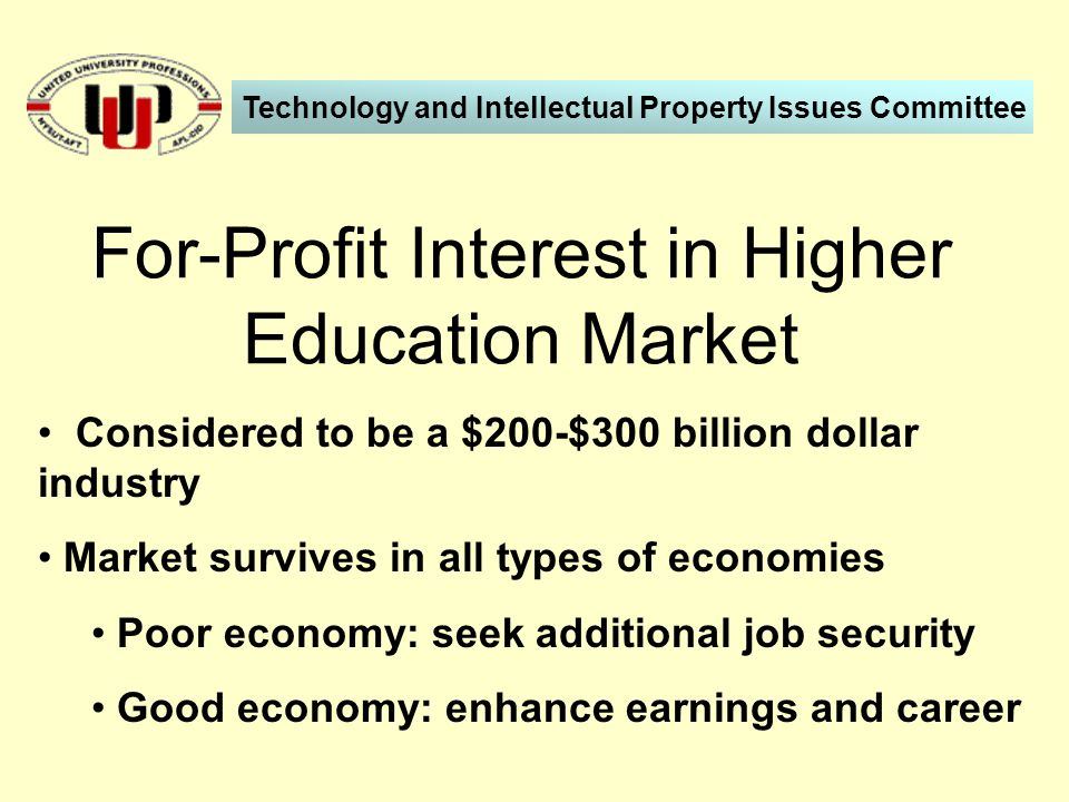 Considered to be a $200-$300 billion dollar industry Market survives in all types of economies Poor economy: seek additional job security Good economy: enhance earnings and career For-Profit Interest in Higher Education Market Technology and Intellectual Property Issues Committee