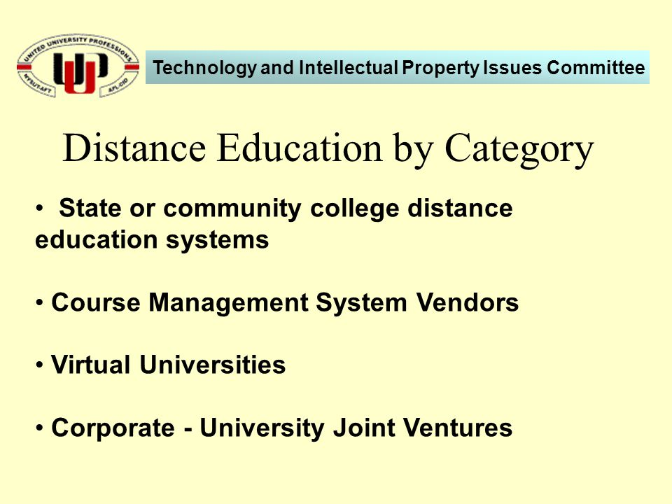 State or community college distance education systems Course Management System Vendors Virtual Universities Corporate - University Joint Ventures Distance Education by Category Technology and Intellectual Property Issues Committee