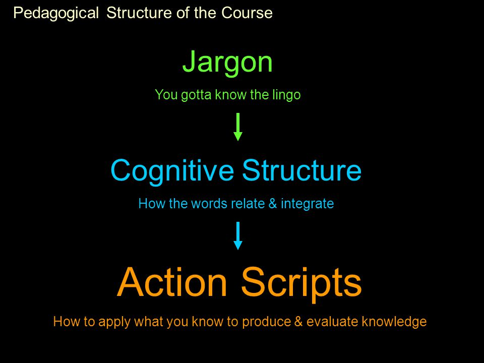 Pedagogical Structure of the Course Jargon You gotta know the lingo Cognitive Structure How the words relate & integrate Action Scripts How to apply what you know to produce & evaluate knowledge