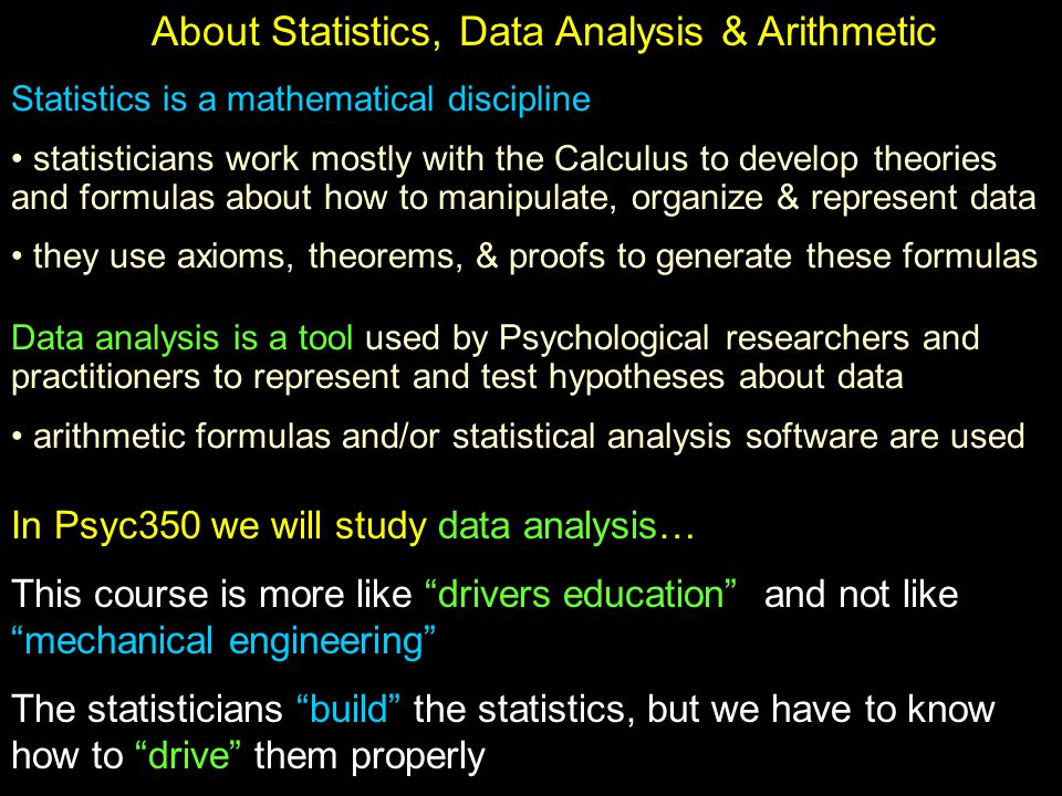 About Statistics, Data Analysis & Arithmetic Statistics is a mathematical discipline statisticians work mostly with the Calculus to develop theories and formulas about how to manipulate, organize & represent data they use axioms, theorems, & proofs to generate these formulas Data analysis is a tool used by Psychological researchers and practitioners to represent and test hypotheses about data arithmetic formulas and/or statistical analysis software are used In Psyc350 we will study data analysis… This course is more like drivers education and not like mechanical engineering The statisticians build the statistics, but we have to know how to drive them properly
