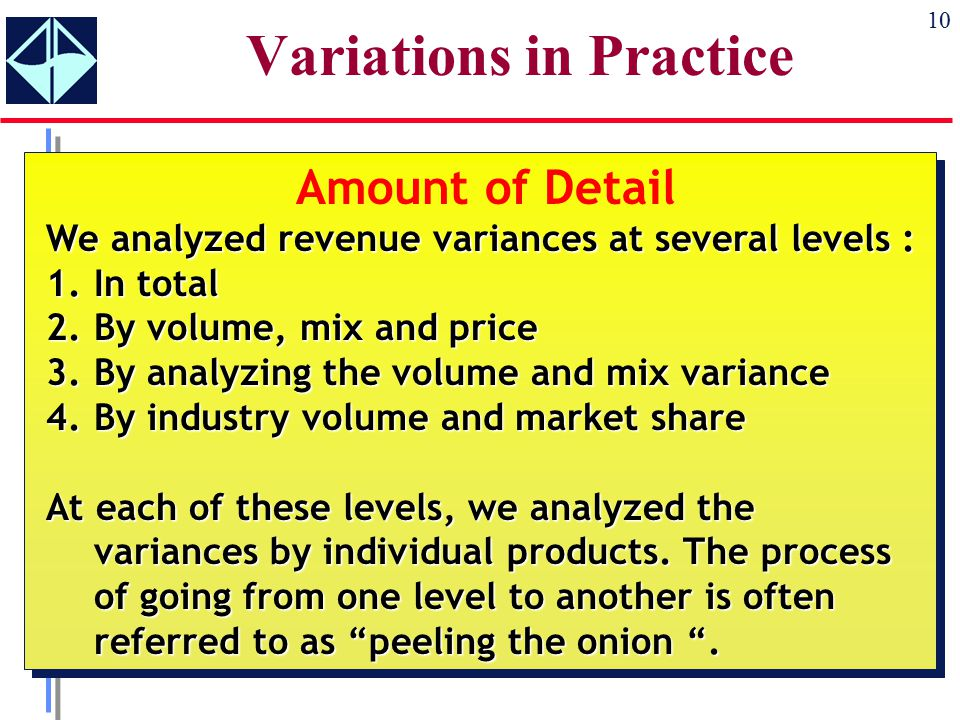 10 Variations in Practice Amount of Detail We analyzed revenue variances at several levels : 1.In total 2.By volume, mix and price 3.By analyzing the volume and mix variance 4.By industry volume and market share At each of these levels, we analyzed the variances by individual products.