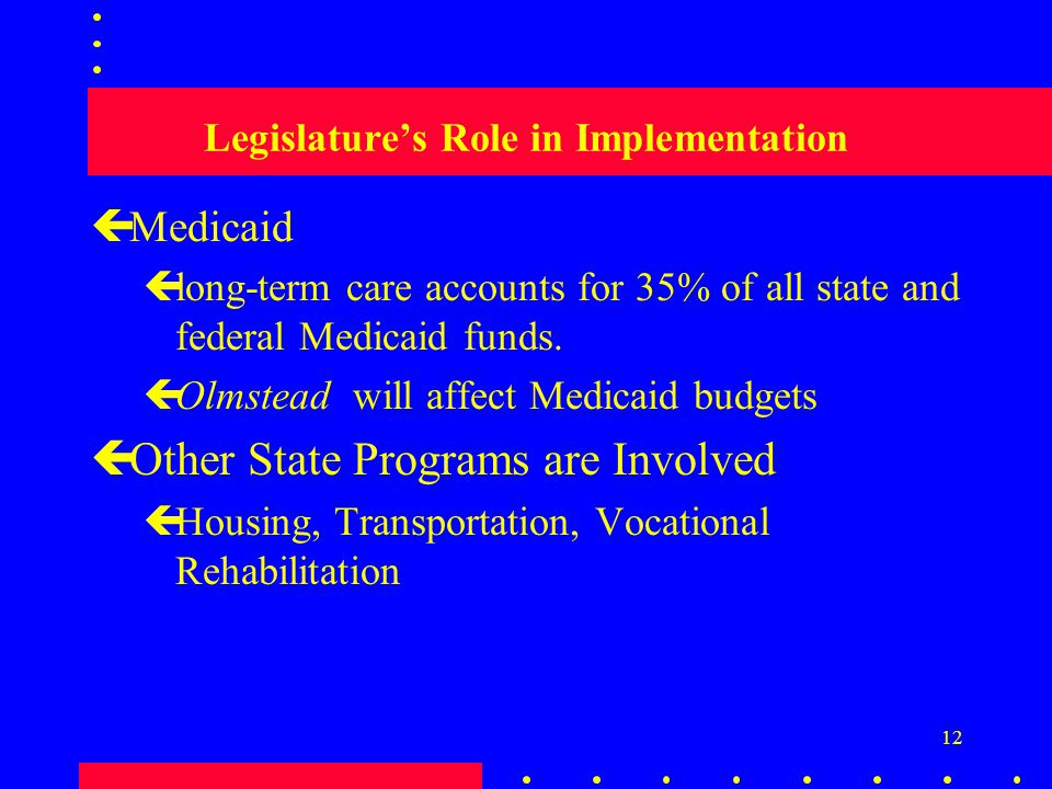 12 Legislature's Role in Implementation çMedicaid çlong-term care accounts for 35% of all state and federal Medicaid funds.