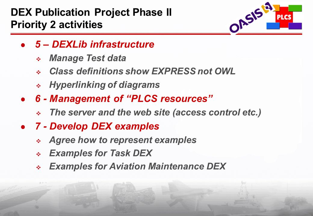11 PLCS Inc. (c) 2002 DEX Publication Project Phase II Priority 2 activities 5 – DEXLib infrastructure  Manage Test data  Class definitions show EXP