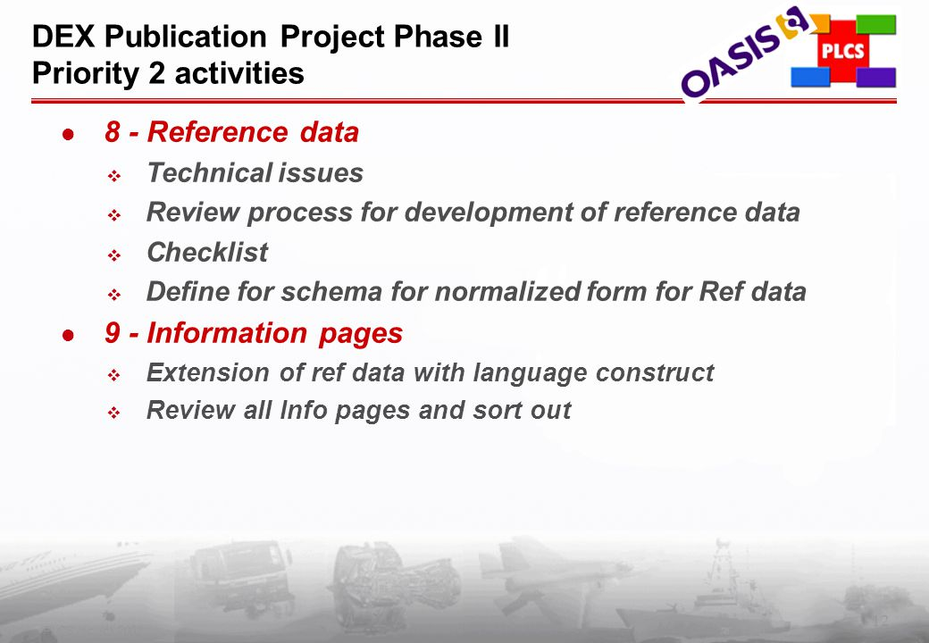 12 PLCS Inc. (c) 2002 DEX Publication Project Phase II Priority 2 activities 8 - Reference data  Technical issues  Review process for development of