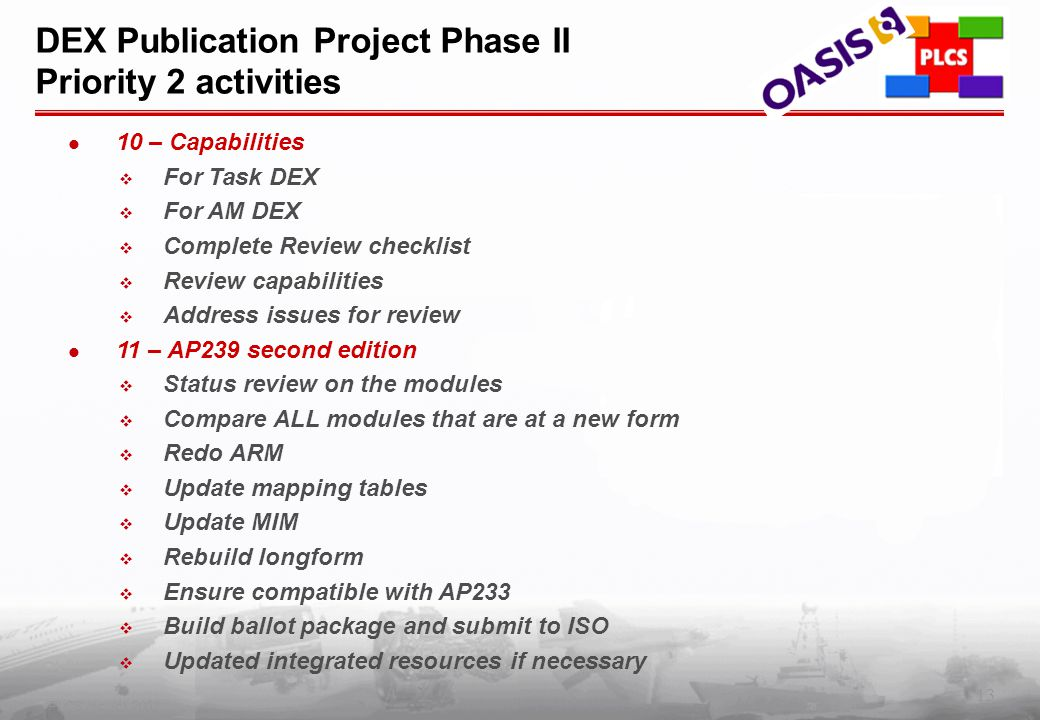 13 PLCS Inc. (c) 2002 DEX Publication Project Phase II Priority 2 activities 10 – Capabilities  For Task DEX  For AM DEX  Complete Review checklist