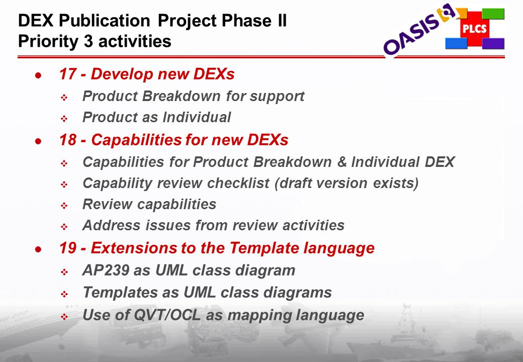 15 PLCS Inc. (c) 2002 DEX Publication Project Phase II Priority 3 activities 17 - Develop new DEXs  Product Breakdown for support  Product as Indivi