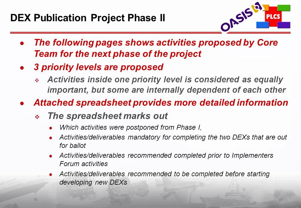 8 PLCS Inc. (c) 2002 DEX Publication Project Phase II The following pages shows activities proposed by Core Team for the next phase of the project 3 p