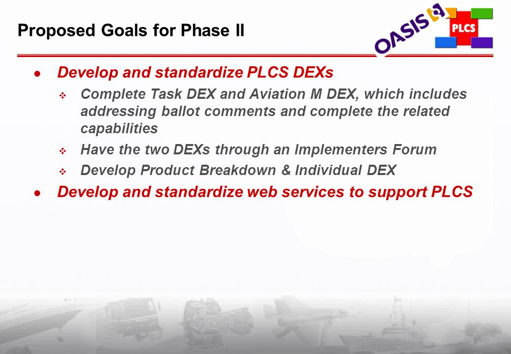 9 PLCS Inc. (c) 2002 Proposed Goals for Phase II Develop and standardize PLCS DEXs  Complete Task DEX and Aviation M DEX, which includes addressing b