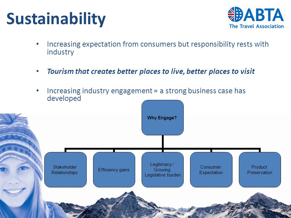 Sustainability Increasing expectation from consumers but responsibility rests with industry Tourism that creates better places to live, better places to visit Increasing industry engagement = a strong business case has developed Why Engage.