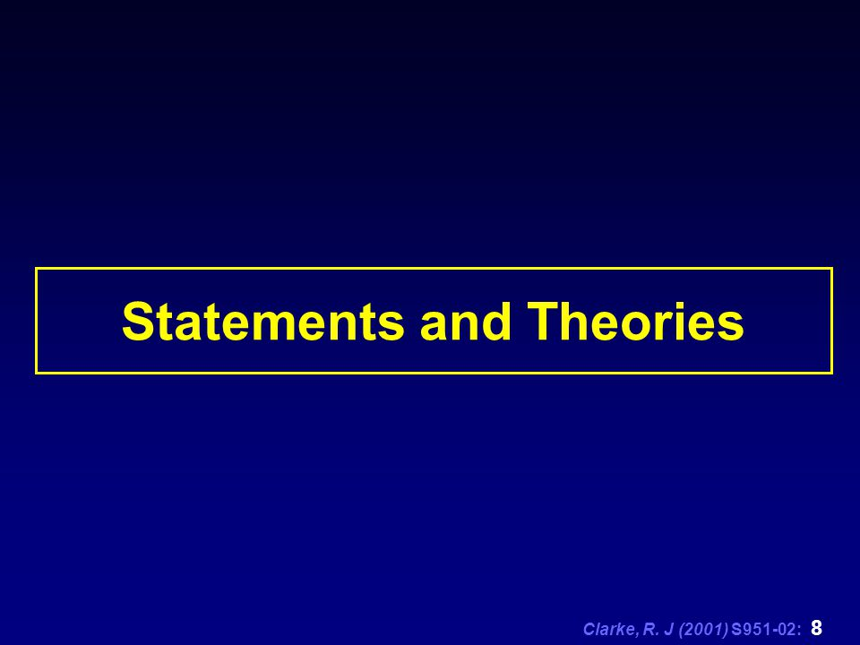Clarke, R. J (2001) S951-02: 8 Statements and Theories
