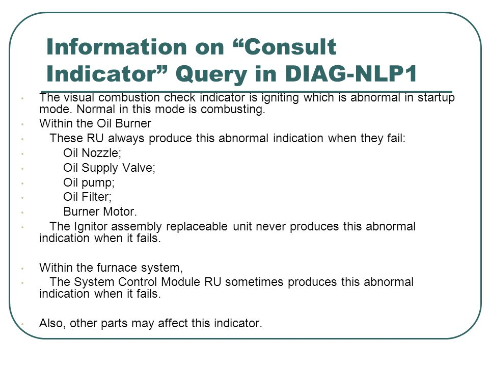 Information on Consult Indicator Query in DIAG-NLP1 The visual combustion check indicator is igniting which is abnormal in startup mode.