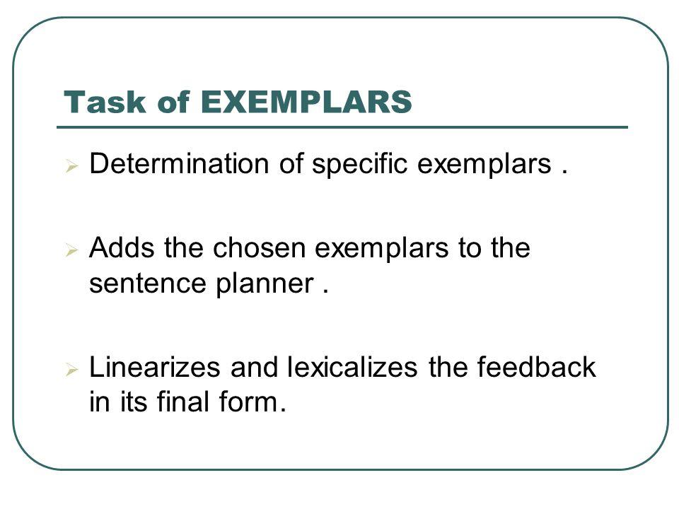 Task of EXEMPLARS  Determination of specific exemplars.