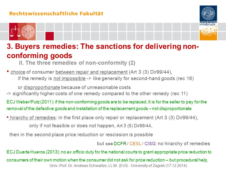 3. Buyers remedies: The sanctions for delivering non- conforming goods II.