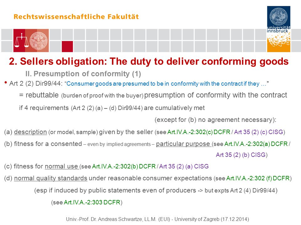 2. Sellers obligation: The duty to deliver conforming goods II.