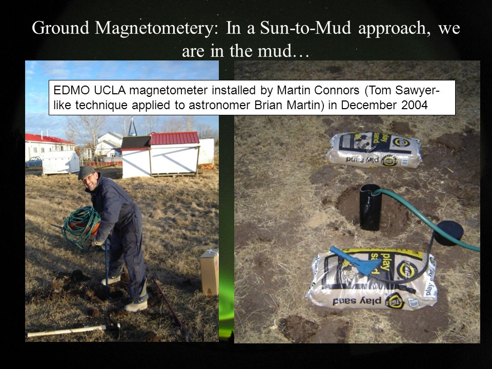 Ground Magnetometery: In a Sun-to-Mud approach, we are in the mud… EDMO UCLA magnetometer installed by Martin Connors (Tom Sawyer- like technique applied to astronomer Brian Martin) in December 2004