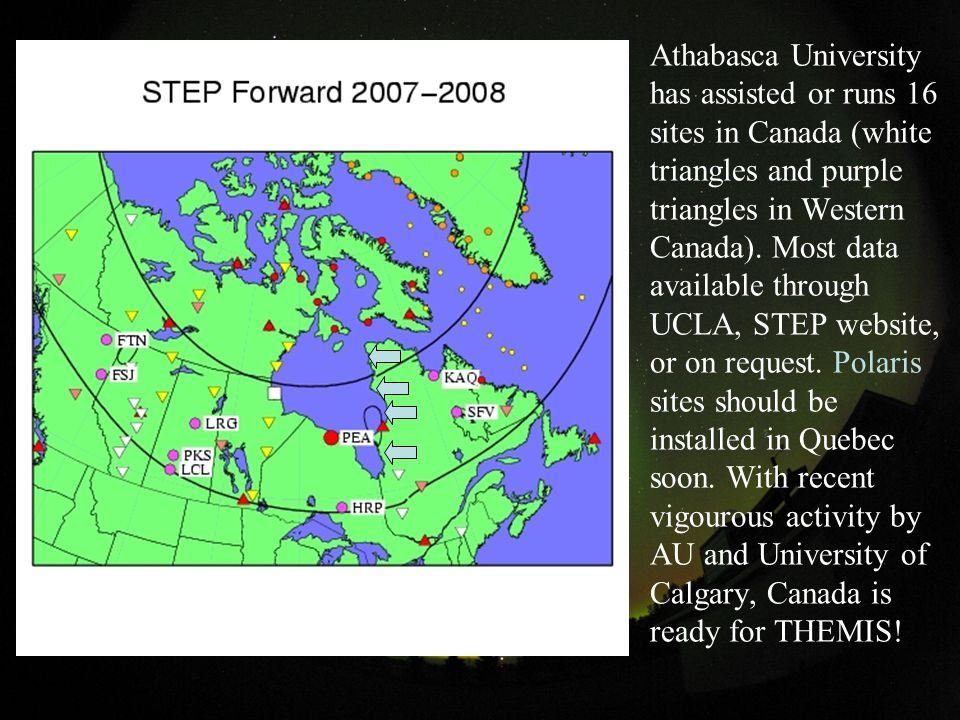 Athabasca University has assisted or runs 16 sites in Canada (white triangles and purple triangles in Western Canada).