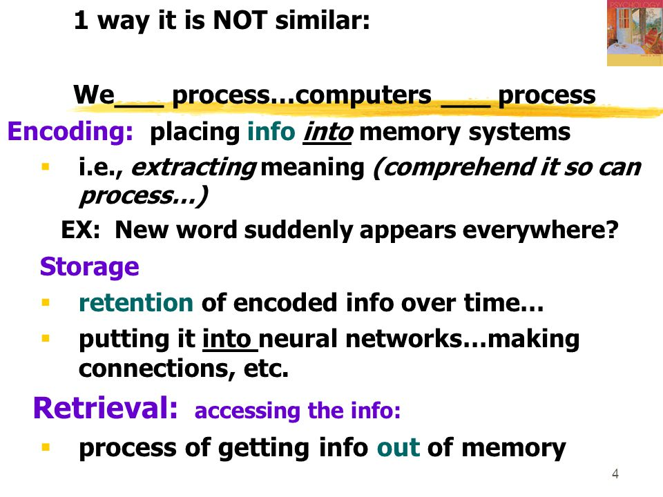 35 Forgetting: (365) 1.Encoding failure 2. Storage decay 3.