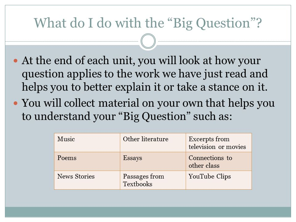 Big Question Cont.THE MORE YOU COLLECT, THE MORE YOU HAVE TO CHOOSE FROM FOR YOUR REFLECTION.
