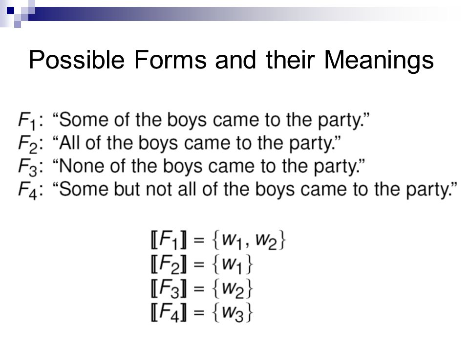 Possible Forms and their Meanings