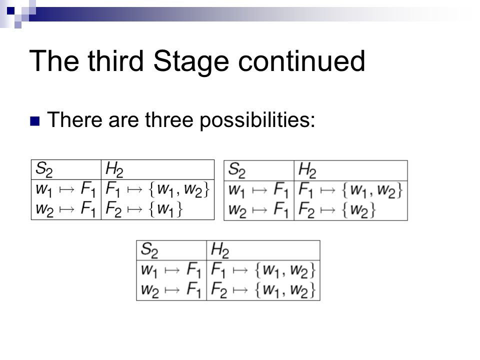The third Stage continued There are three possibilities: