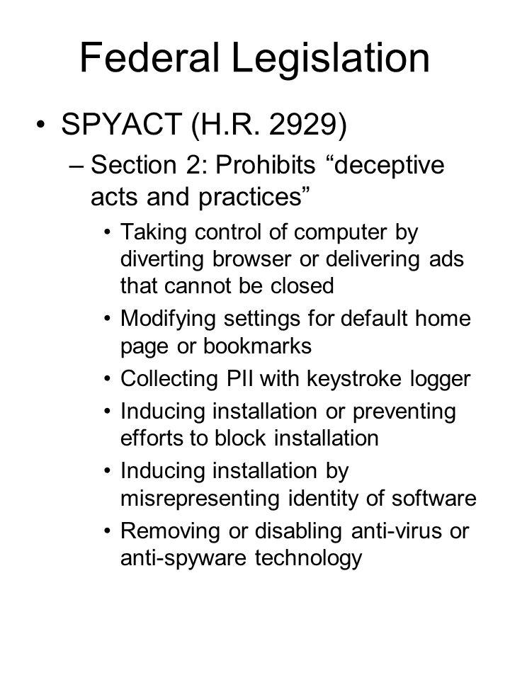 Federal Legislation SPYACT (H.R.