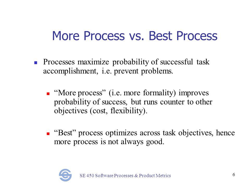 SE 450 Software Processes & Product Metrics 6 More Process vs.