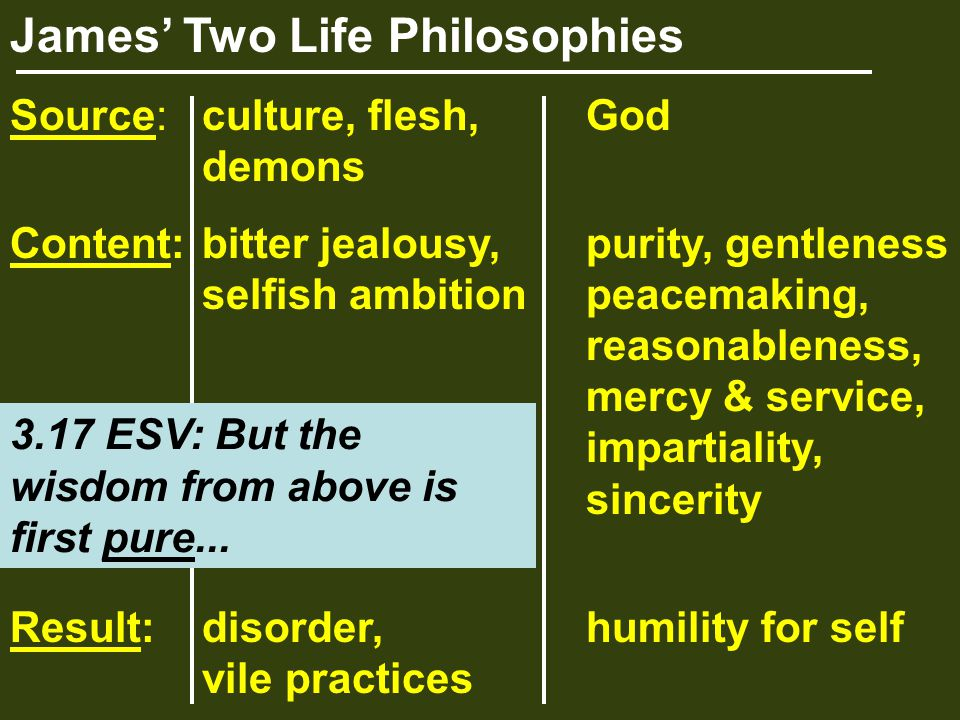 James' Two Life Philosophies Source:culture, flesh,God demons Content:bitter jealousy,purity, gentleness selfish ambitionpeacemaking, reasonableness, mercy & service, impartiality, sincerity Result:disorder,humility for self vile practices 3.17 ESV: But the wisdom from above is first pure...