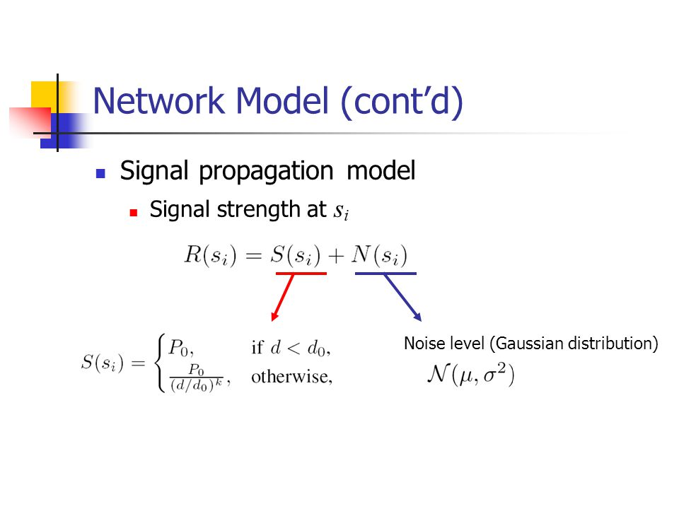 Network Model (cont'd) Signal propagation model Signal strength at s i Noise level (Gaussian distribution)