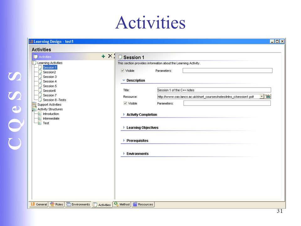 C Q e S S 31 Activities