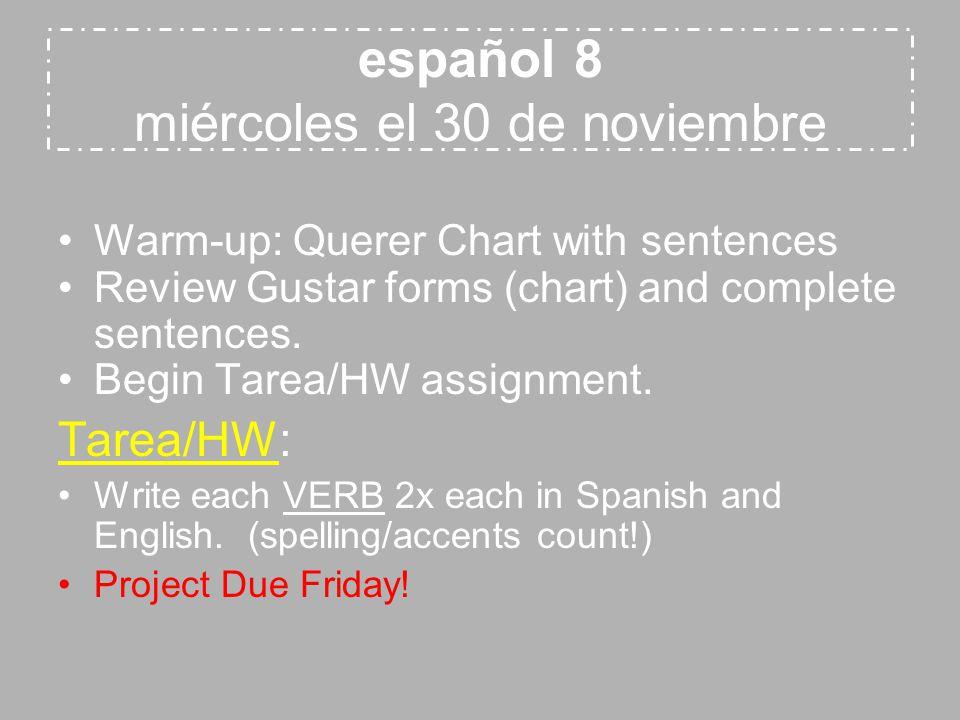 español 8 miércoles el 30 de noviembre Warm-up: Querer Chart with sentences Review Gustar forms (chart) and complete sentences. Begin Tarea/HW assignm
