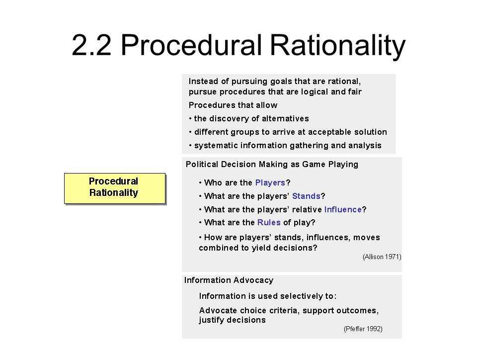 2.2 Procedural Rationality