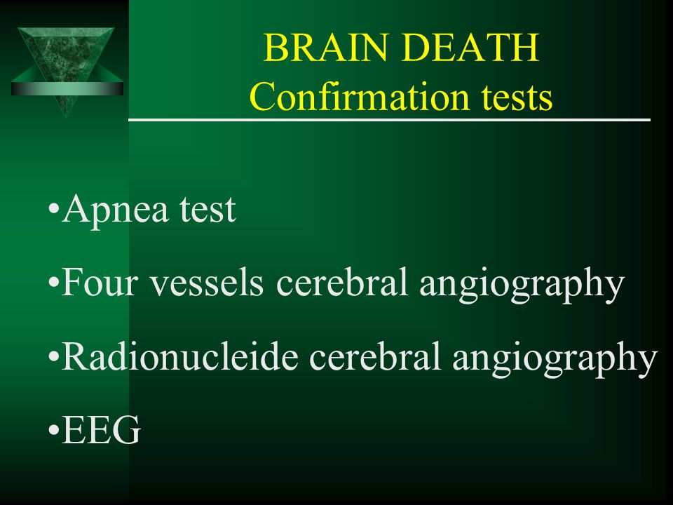 BRAIN DEATH Confirmation tests Apnea test Four vessels cerebral angiography Radionucleide cerebral angiography EEG