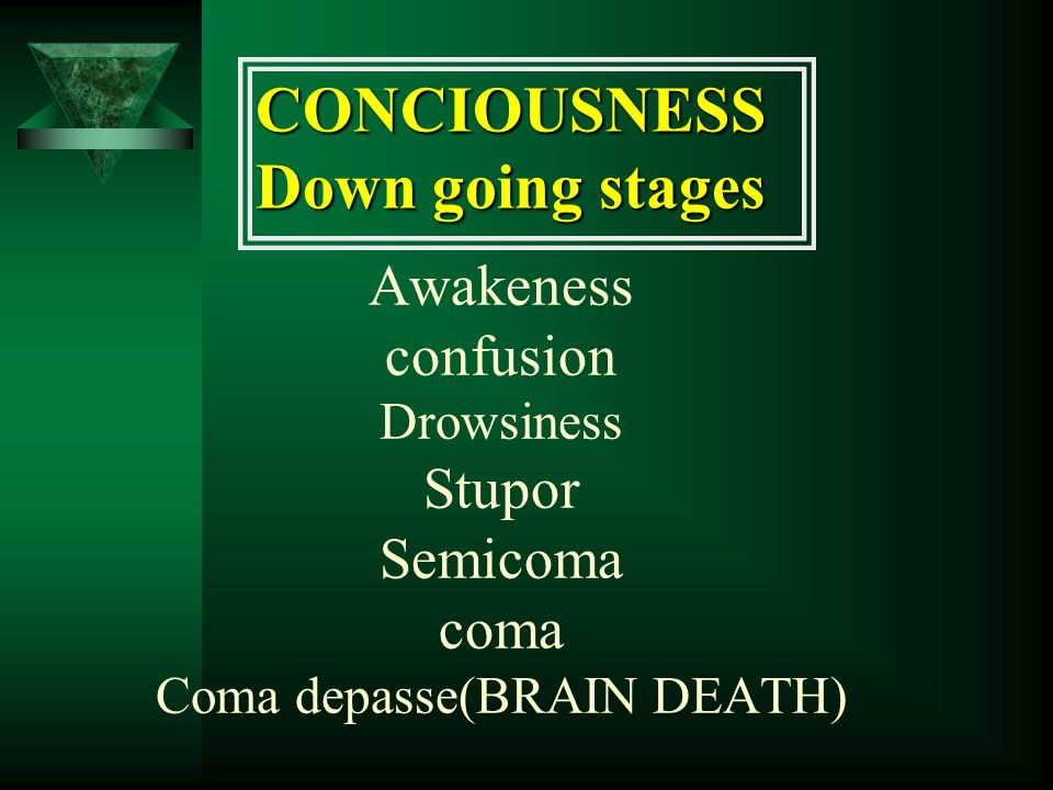 Awakeness confusion Drowsiness Stupor Semicoma coma Coma depasse(BRAIN DEATH) CONCIOUSNESS Down going stages