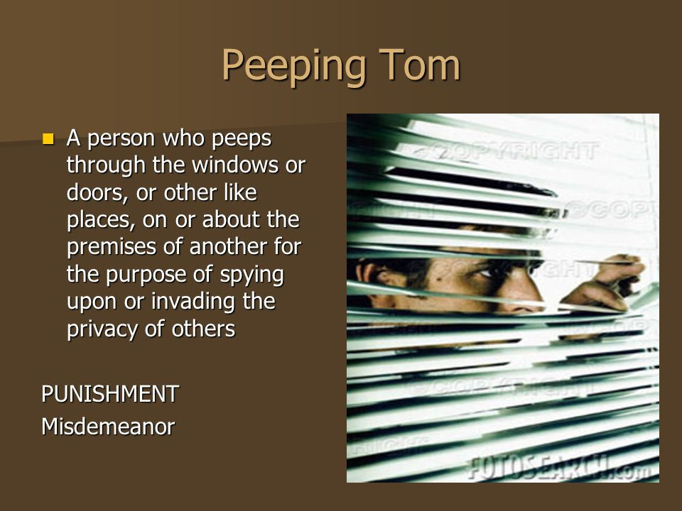Peeping Tom A person who peeps through the windows or doors, or other like places, on or about the premises of another for the purpose of spying upon