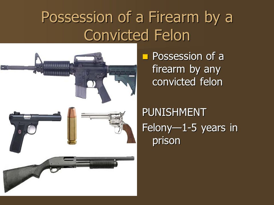 Possession of a Firearm by a Convicted Felon Possession of a firearm by any convicted felon Possession of a firearm by any convicted felonPUNISHMENT F