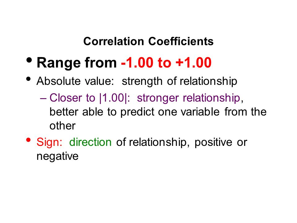 Correlation Coefficients Range from -1.00 to +1.00 Absolute value: strength of relationship –Closer to |1.00|: stronger relationship, better able to predict one variable from the other Sign: direction of relationship, positive or negative
