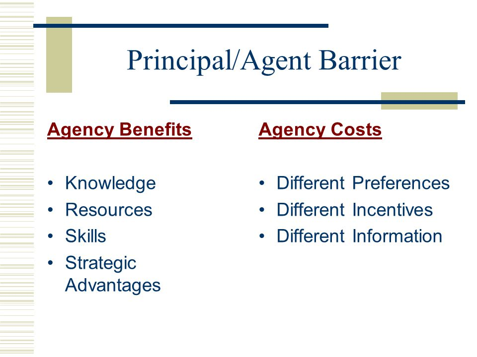 Principal/Agent Barrier Agency Benefits Knowledge Resources Skills Strategic Advantages Agency Costs Different Preferences Different Incentives Different Information
