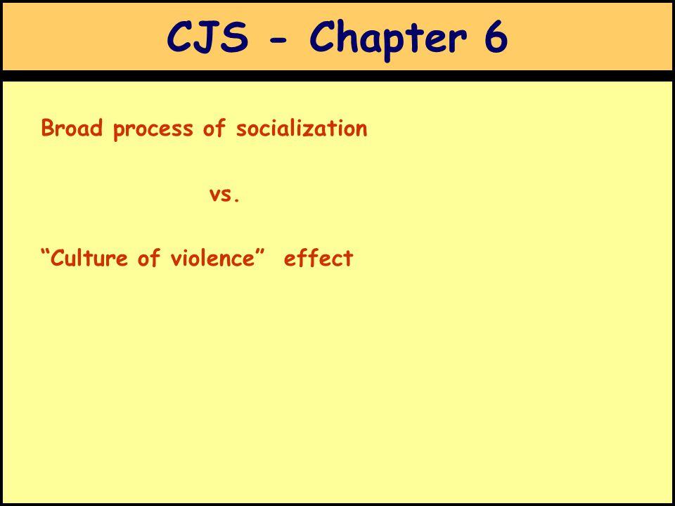 CJS - Chapter 6 Broad process of socialization vs. Culture of violence effect