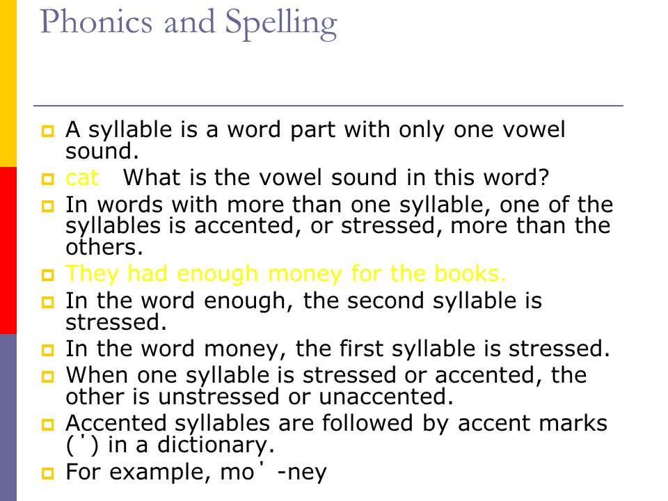 Phonics and Spelling  How should each of the following words be divided.