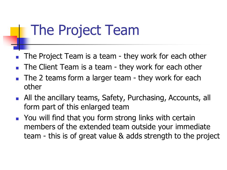 The Project Team The Project Team is a team - they work for each other The Client Team is a team - they work for each other The 2 teams form a larger team - they work for each other All the ancillary teams, Safety, Purchasing, Accounts, all form part of this enlarged team You will find that you form strong links with certain members of the extended team outside your immediate team - this is of great value & adds strength to the project
