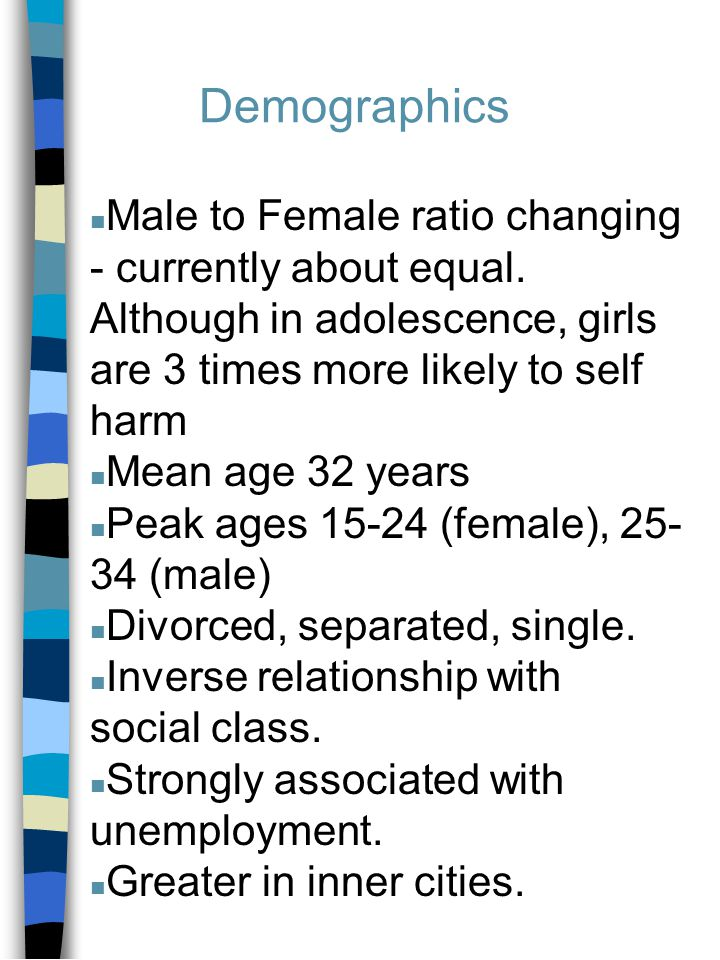 Demographics n Male to Female ratio changing - currently about equal.