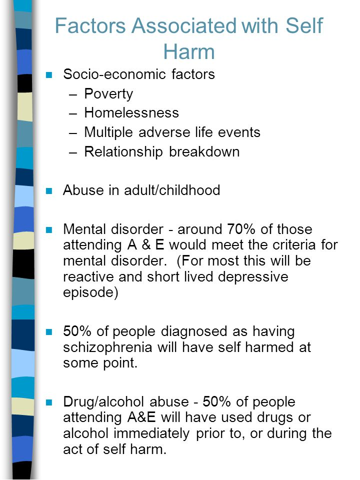 Factors Associated with Self Harm n Socio-economic factors –Poverty –Homelessness –Multiple adverse life events –Relationship breakdown n Abuse in adult/childhood n Mental disorder - around 70% of those attending A & E would meet the criteria for mental disorder.