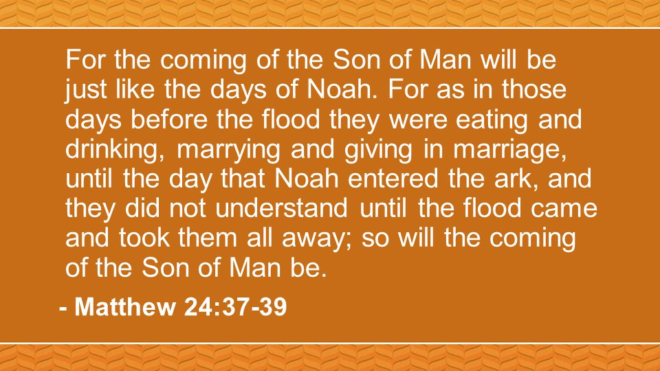 For the coming of the Son of Man will be just like the days of Noah.