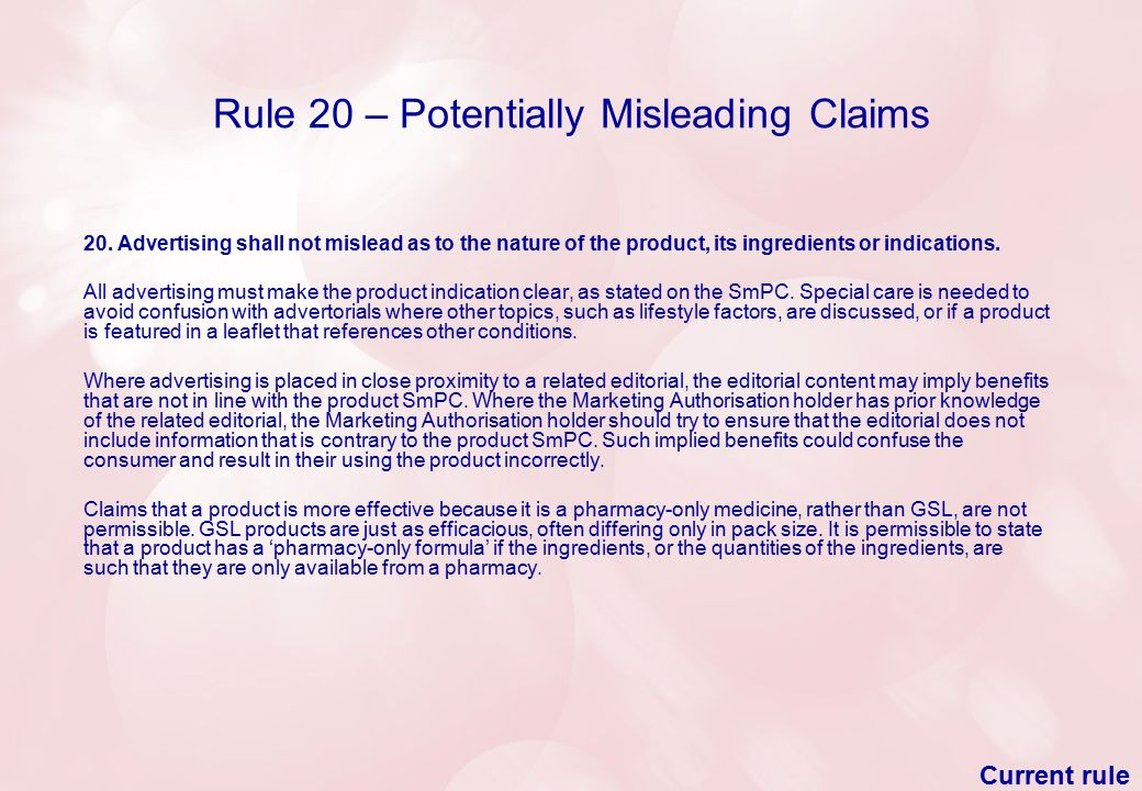 Rule 20 – Potentially Misleading Claims 20.