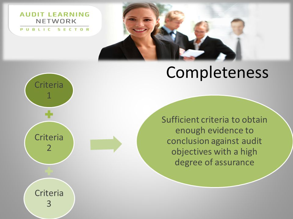 Completeness Criteria 1 Criteria 2 Criteria 3 Sufficient criteria to obtain enough evidence to conclusion against audit objectives with a high degree of assurance