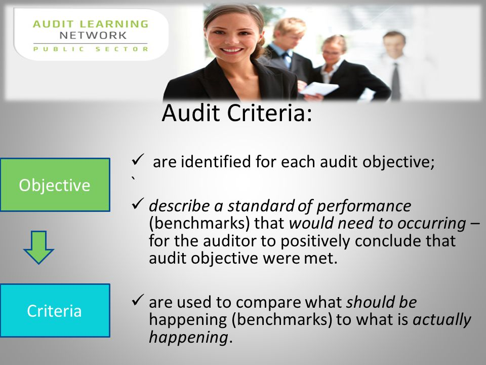 g are identified for each audit objective; ` describe a standard of performance (benchmarks) that would need to occurring – for the auditor to positively conclude that audit objective were met.