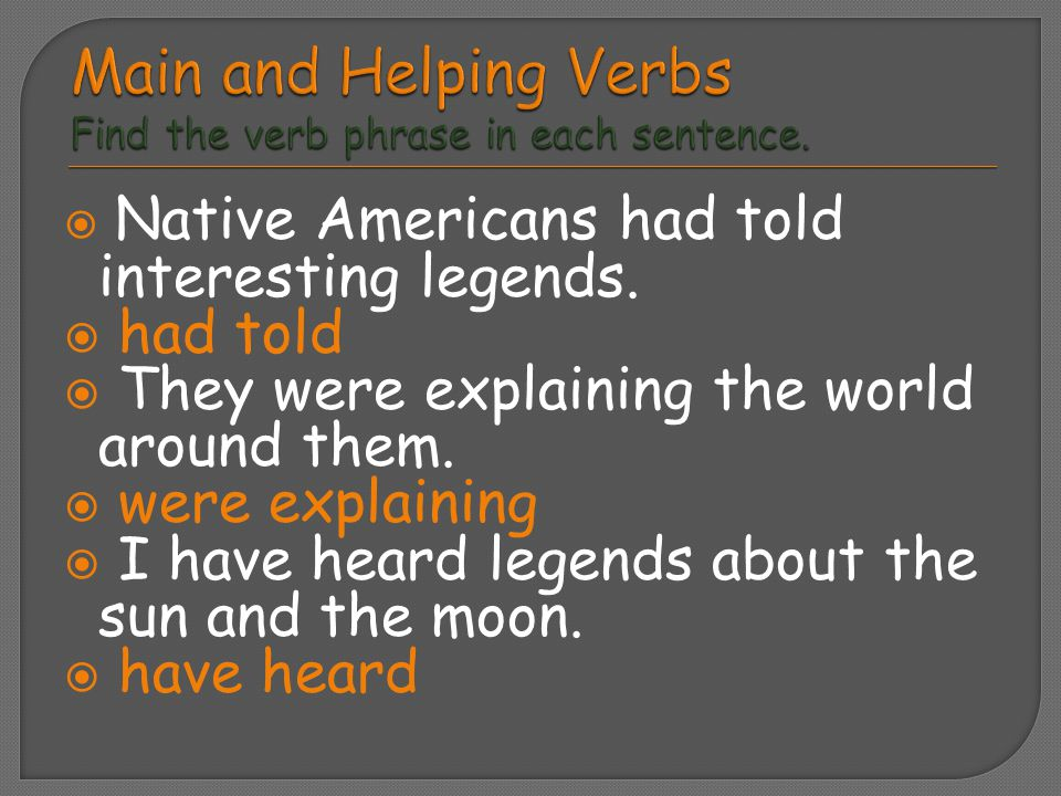  Native Americans had told interesting legends.  had told  They were explaining the world around them.  were explaining  I have heard legends abo