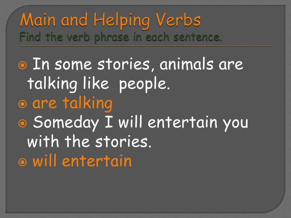  In some stories, animals are talking like people.  are talking  Someday I will entertain you with the stories.  will entertain