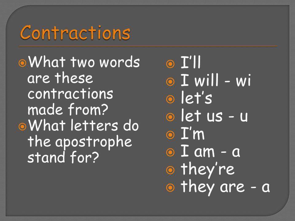  What two words are these contractions made from?  What letters do the apostrophe stand for?  I'll  I will - wi  let's  let us - u  I'm  I am